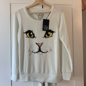 Chaser Kitty Cat Face Graphic Pullover Sweater